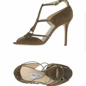 NWT Jimmy Choo FARON 100 khaki moss heels 37